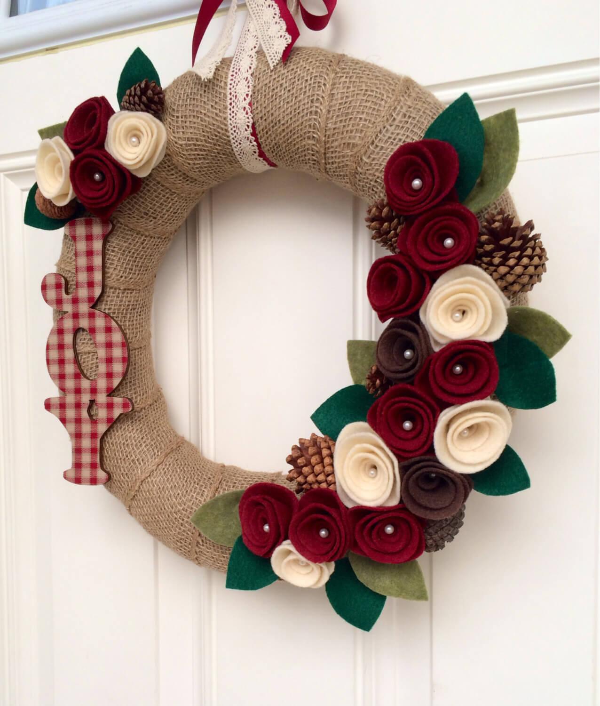Felt flower Christmas wreath