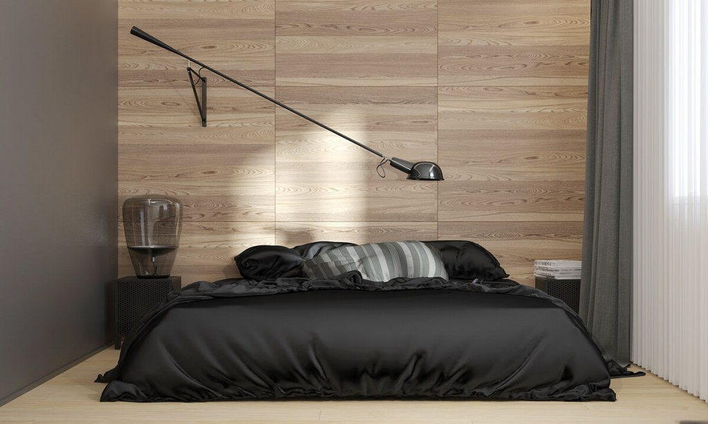 Modern bedroom desing with wooden wall panels