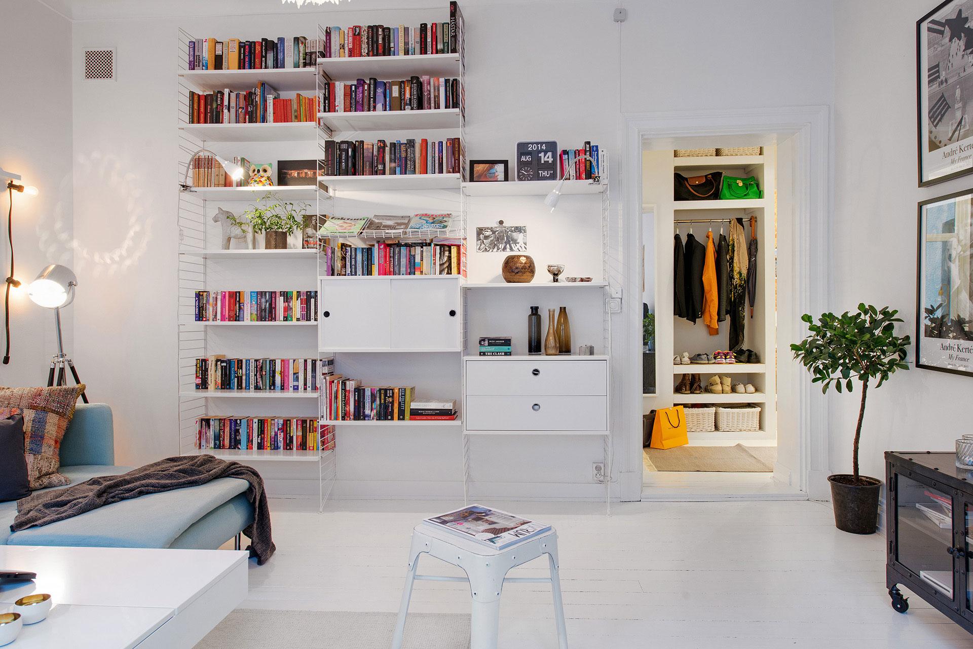 Bookshelves in a living room