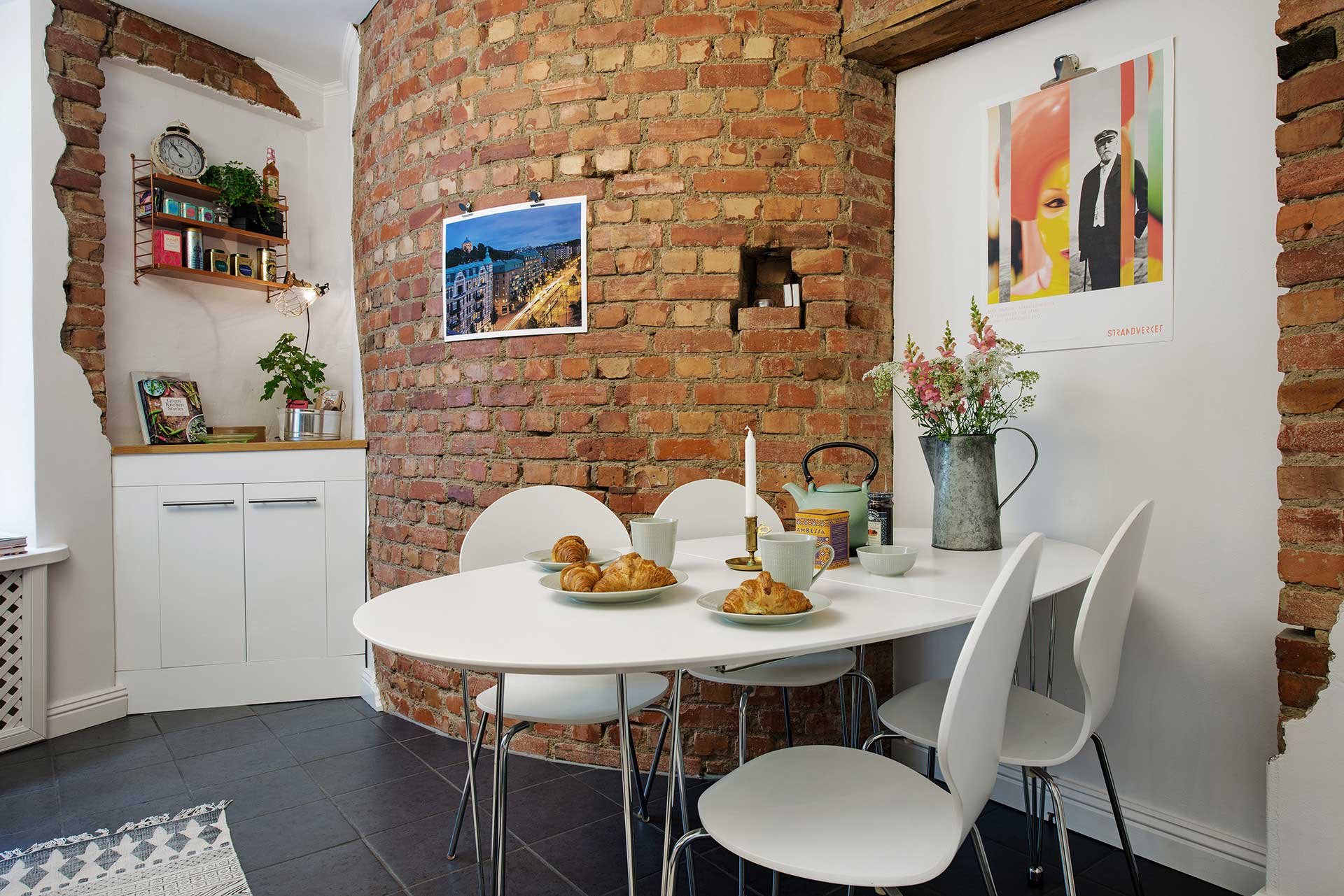 Brick wall in a dining room