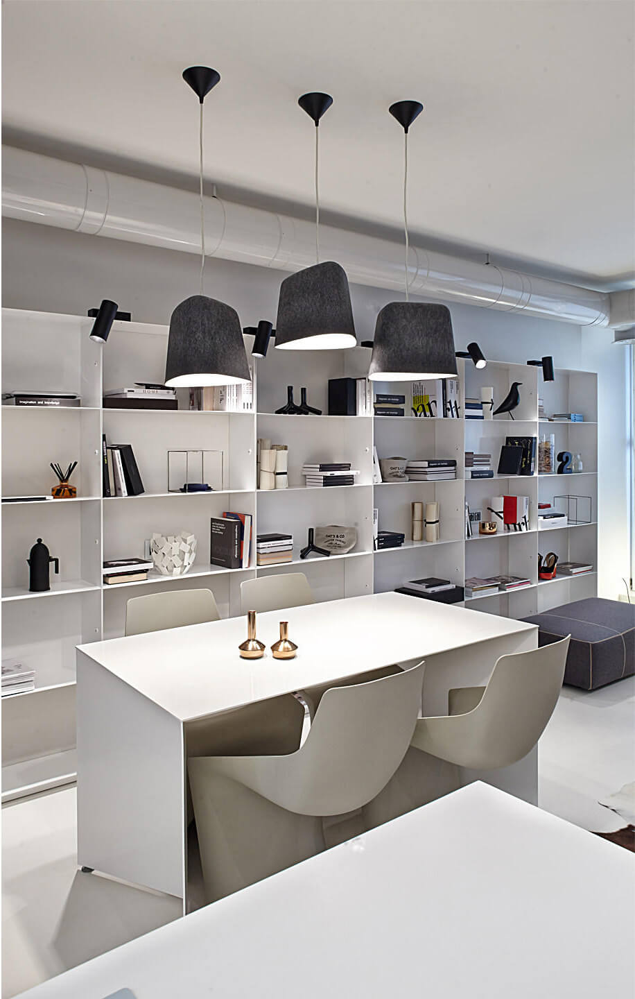 White wall with shelves