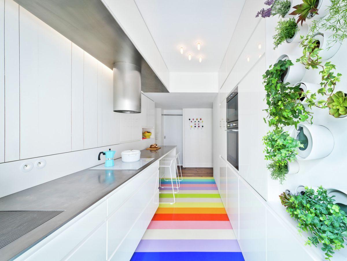 Kitchen with rainbow flooring