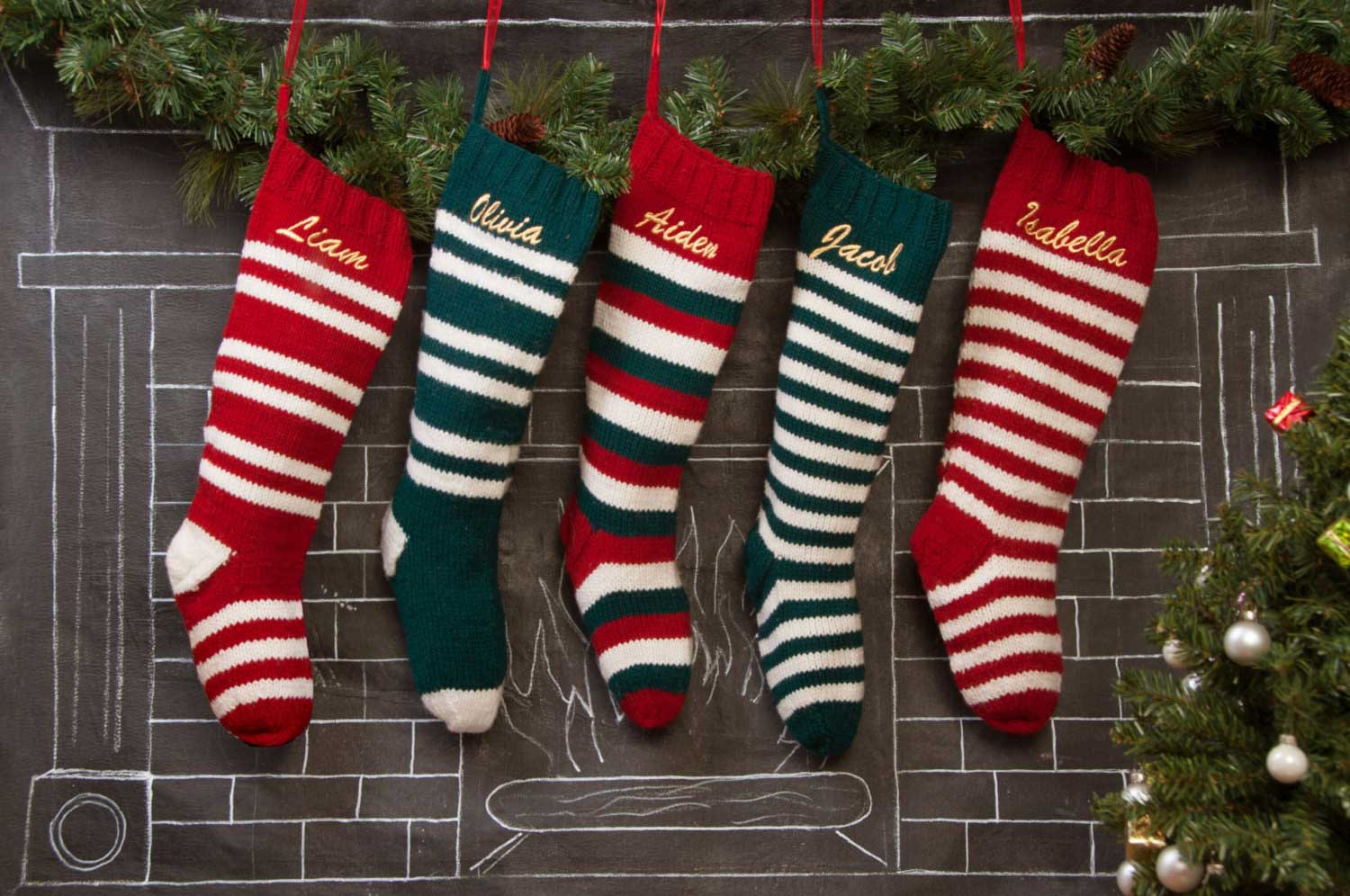 Colorful Knit Christmas Stockings