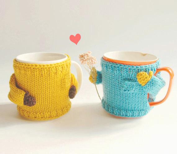 Yellow and blue mug sweaters