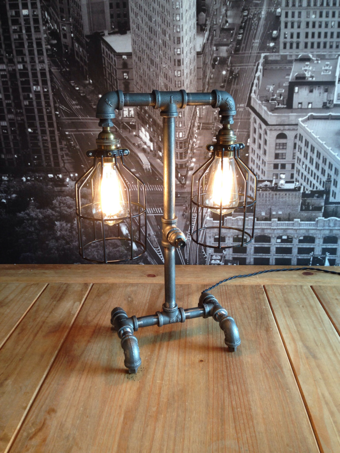 industrial style table lamp. Black Bedroom Furniture Sets. Home Design Ideas