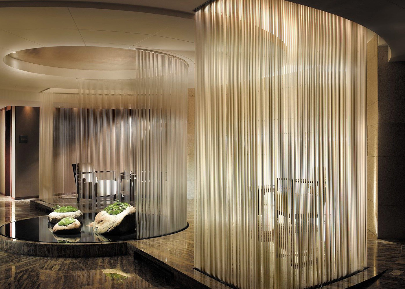Water curtains in Asian Tea Lounge, Peninsula