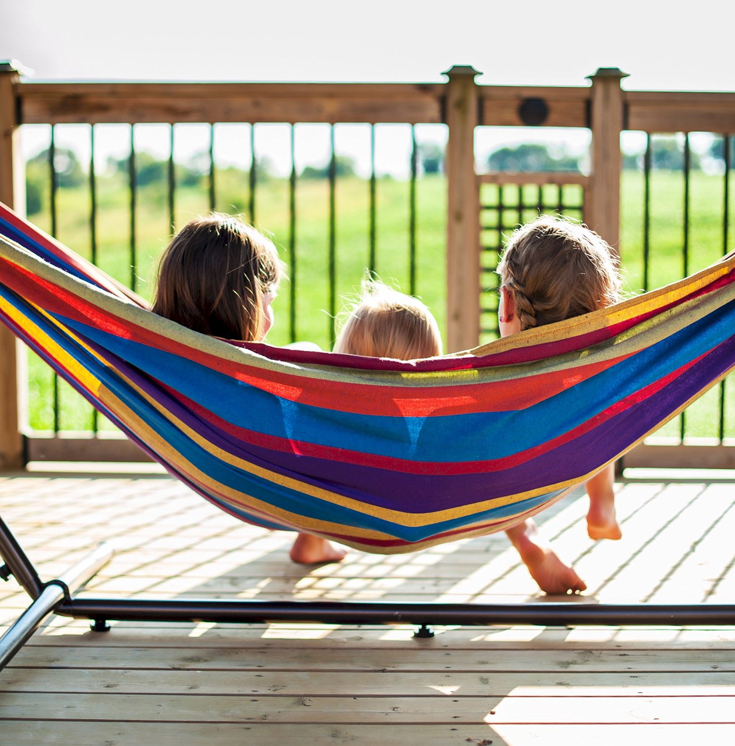 Kids on a double hammock