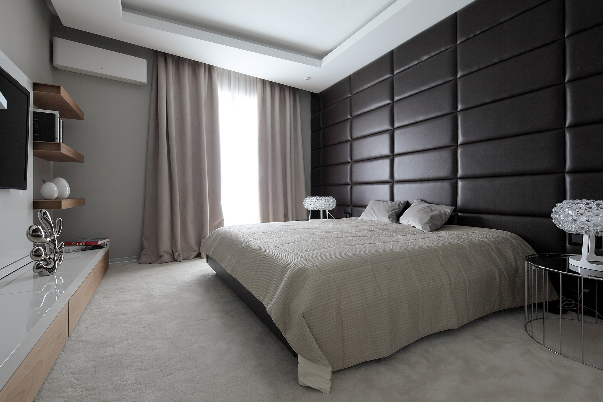 Faux leather panels in a bedroom