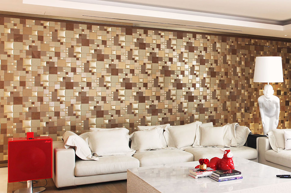 Faux leather on the wall in the living room