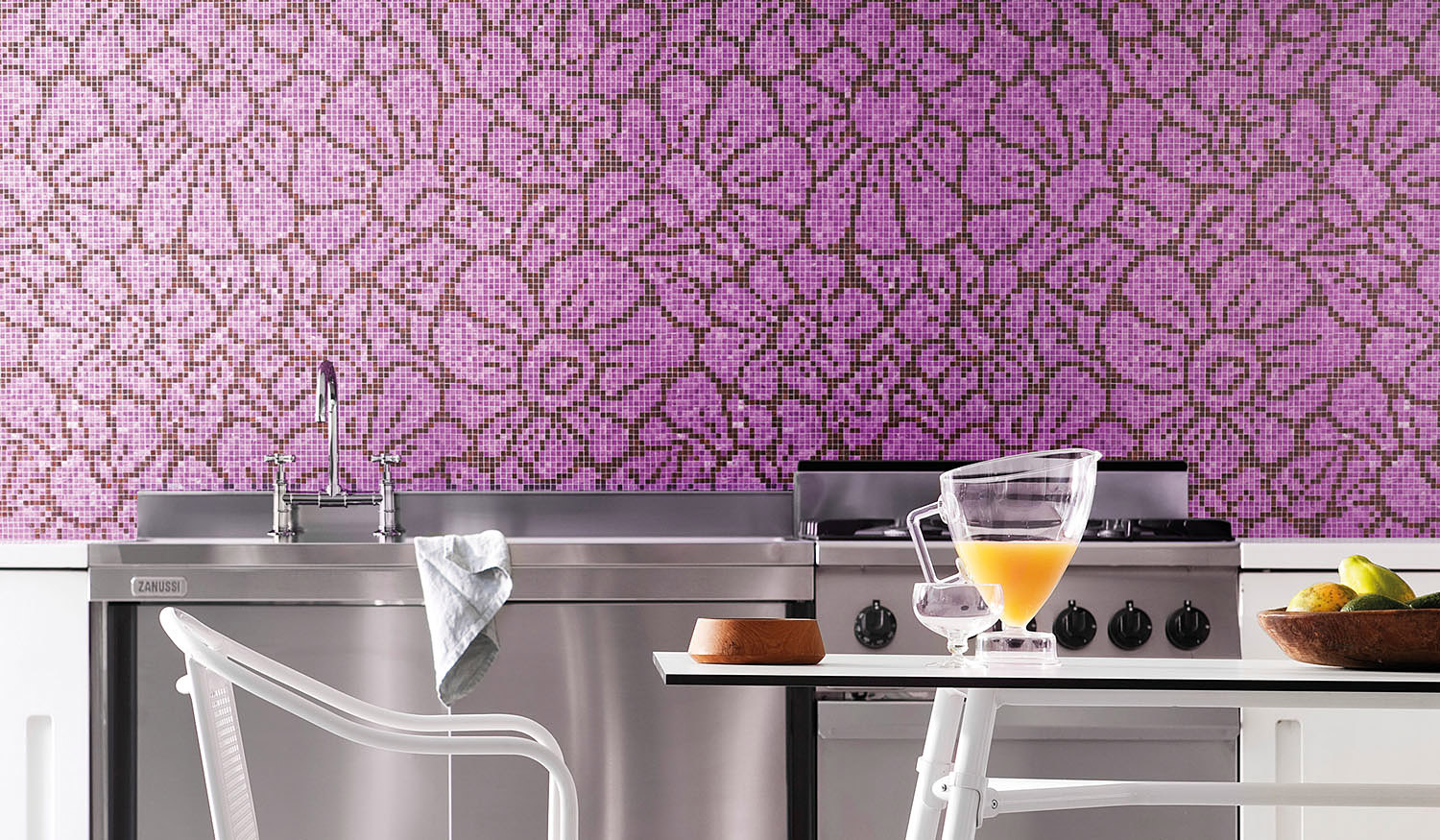 Pink mosaic art in the kitchen