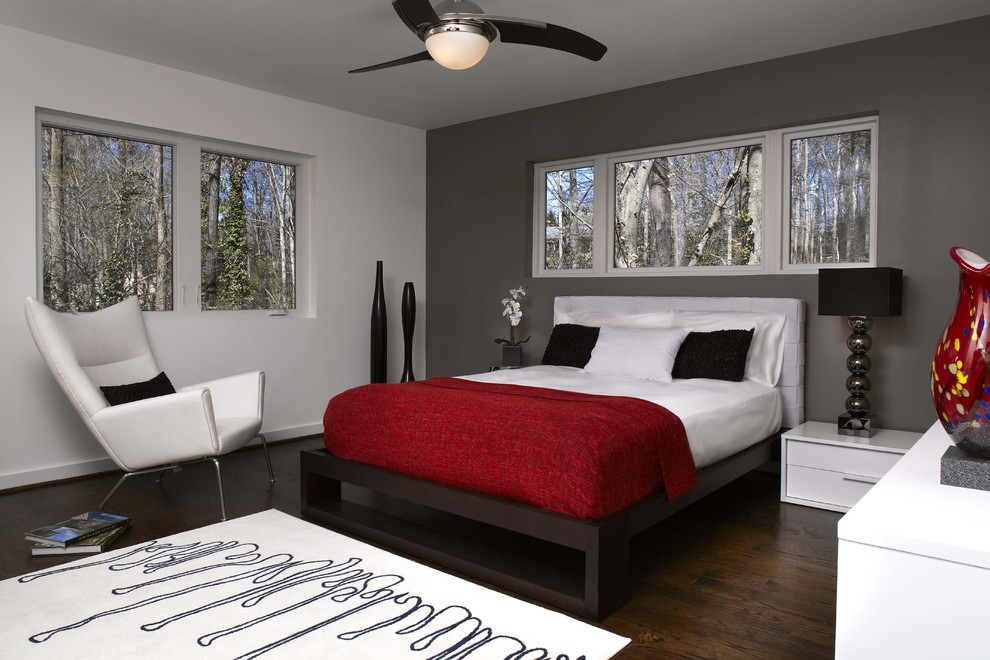 Gray and red bedroom  Adding the Right Color to Your Bedroom Adorable Home. One Wall Color Bedroom
