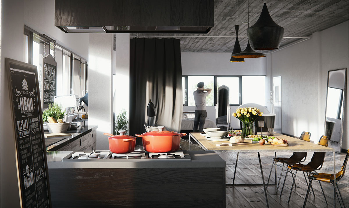 Kitchen and bedroom area in an open plan loft design