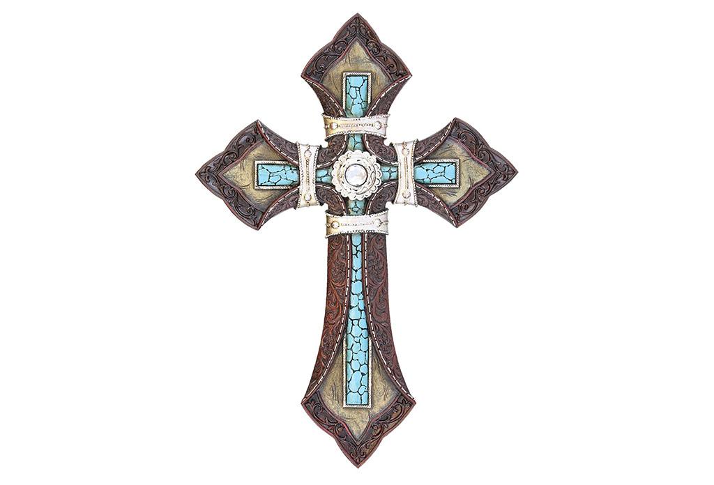 Tooled leather cross with