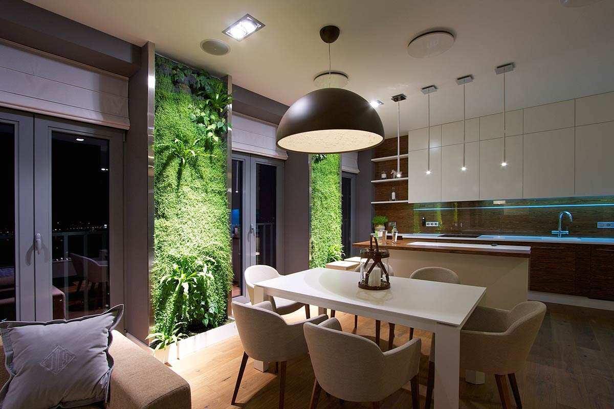 Vertical living wall in apartment