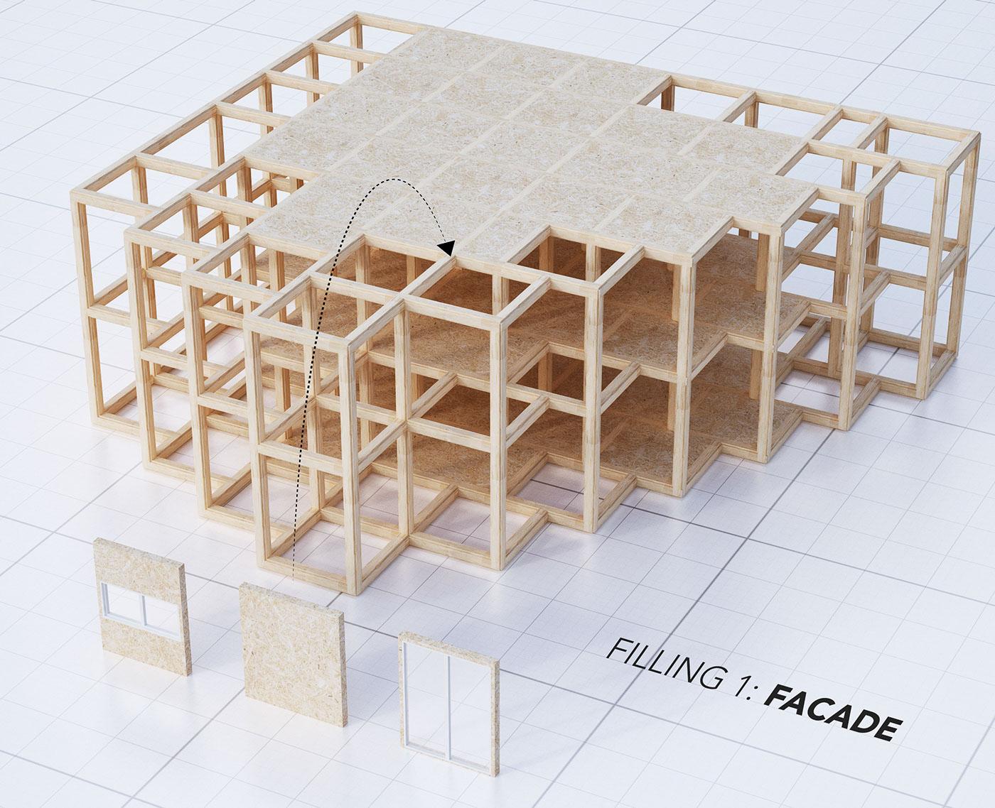 A modular system of a structural framework - facade
