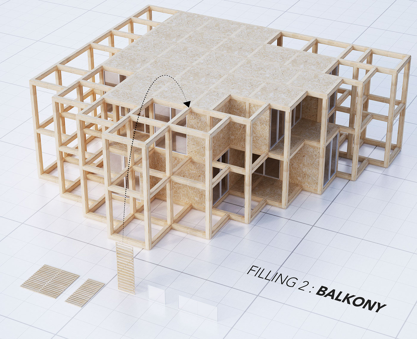 A modular system of a structural framework - balcony