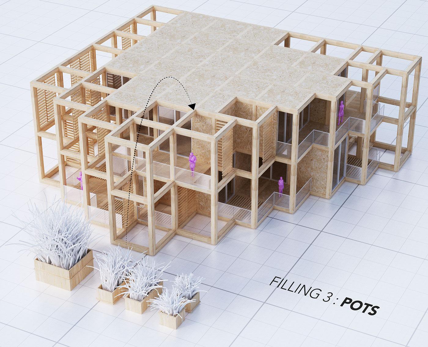 A modular system of a structural framework - pots