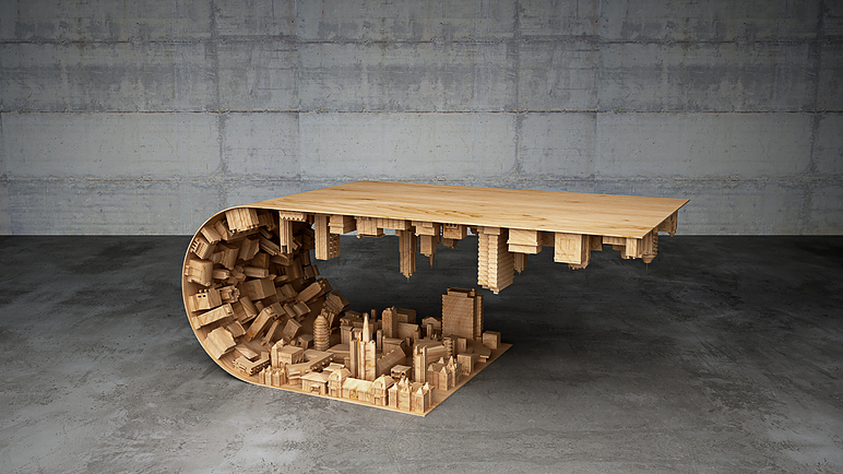Wave City Coffee Table by Stelios Mousarris - side view