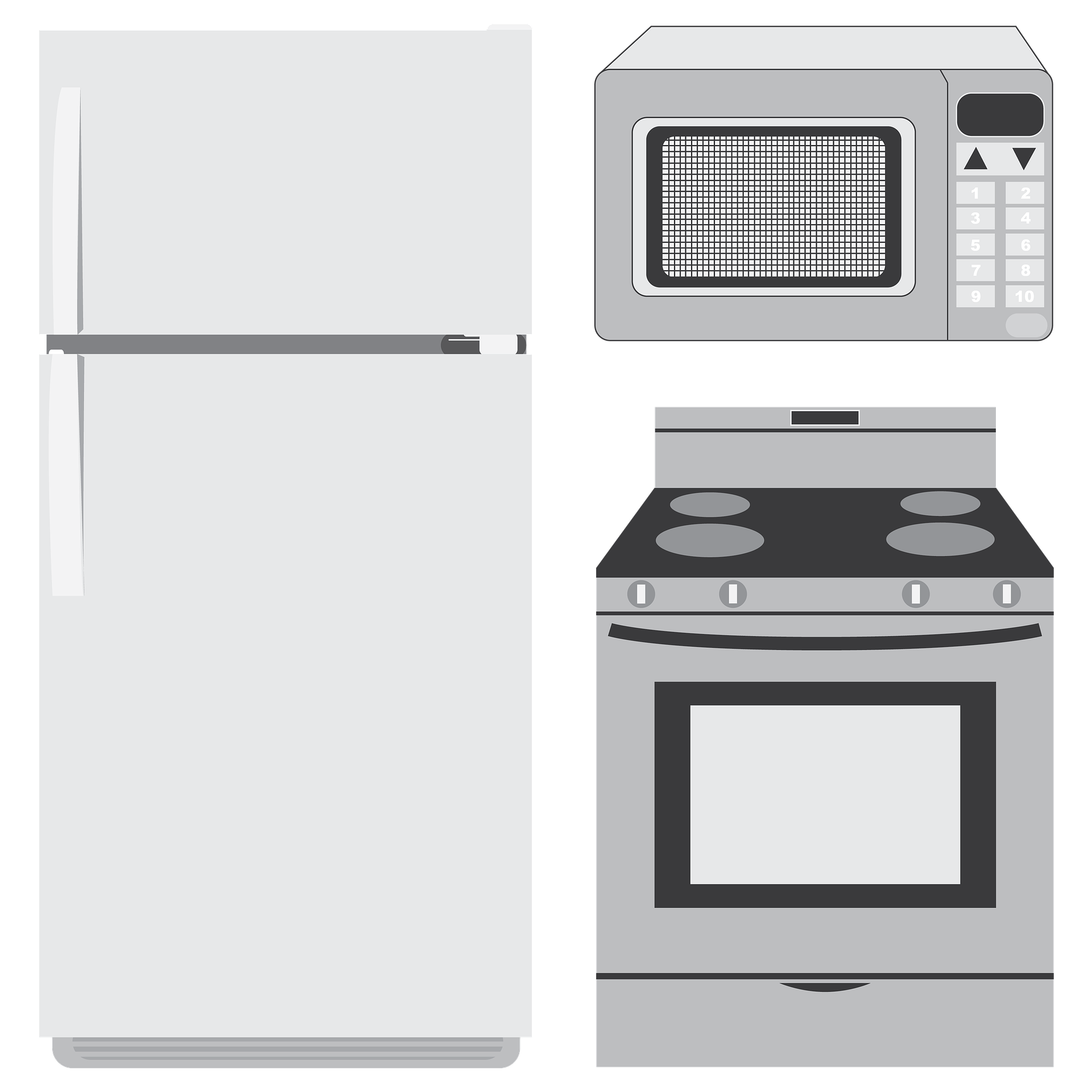 Fridge, microwave and oven