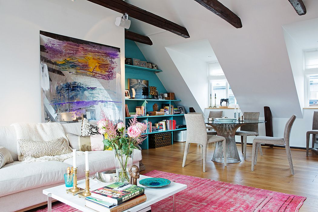 Colorful attic living room