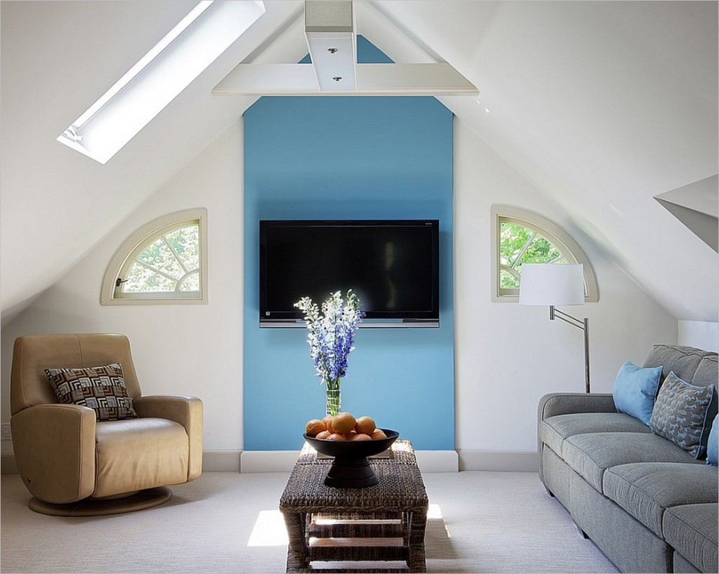 Simple attic living room design