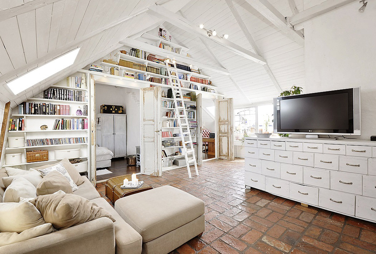 Attic living room with a library wall