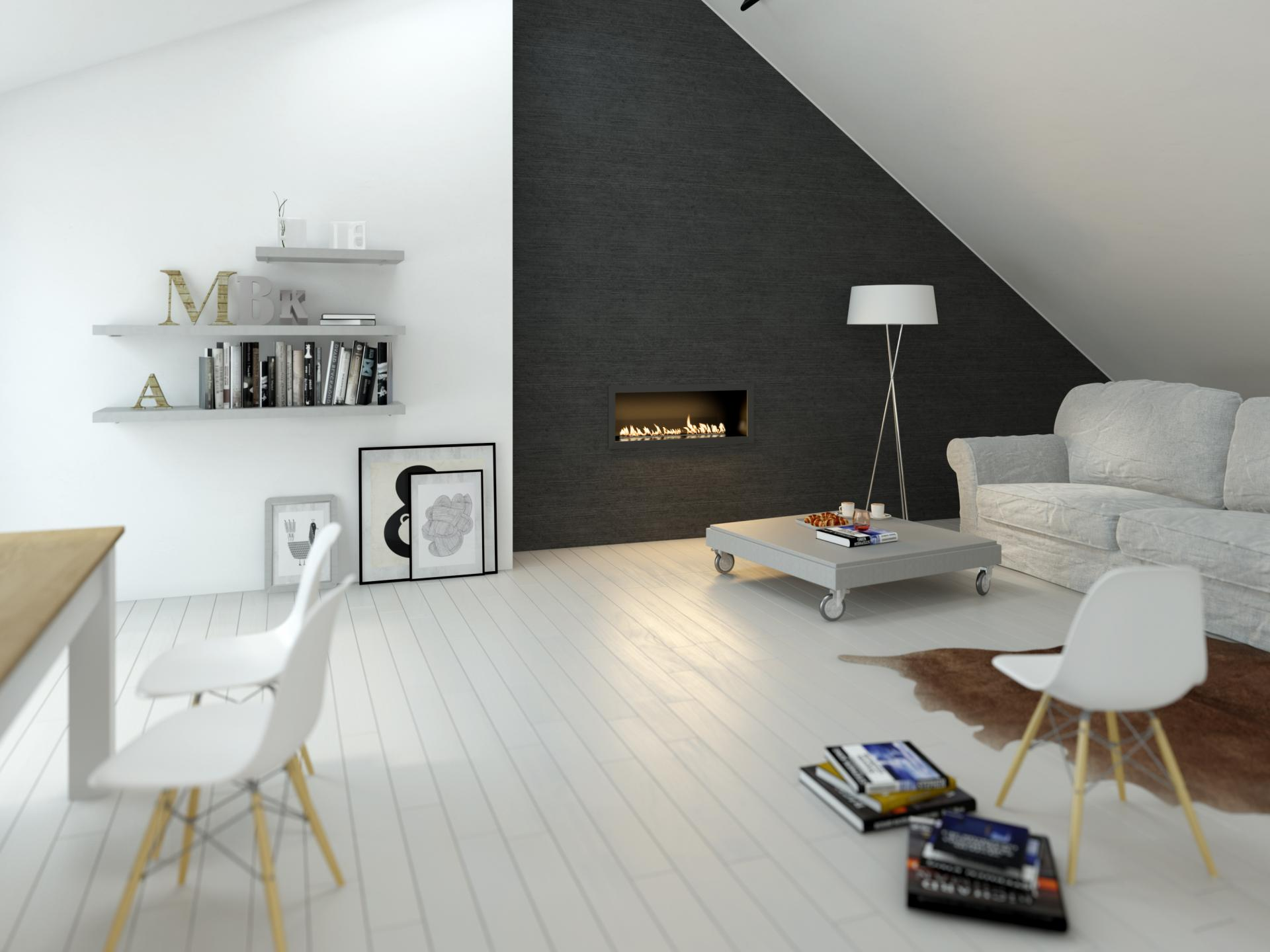 Minimalist Scandinavian attic living room