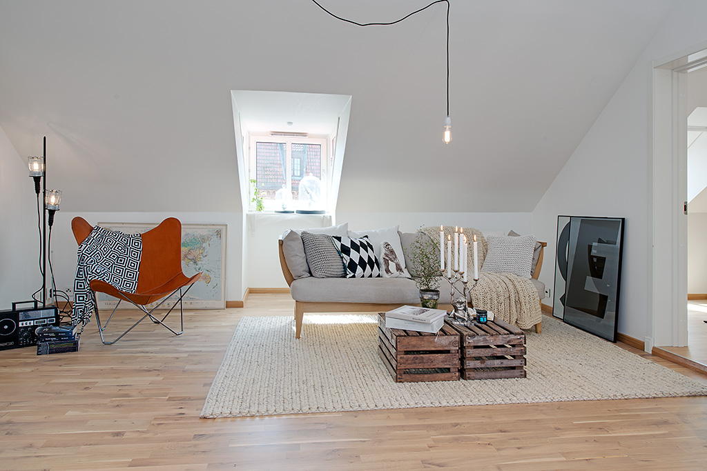 White attic living room