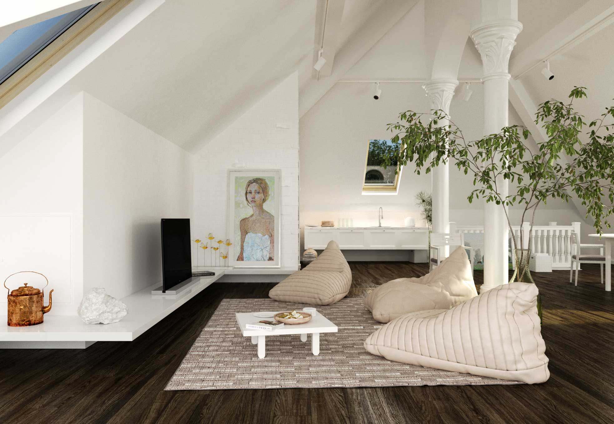 Attic Living Room Design With Bean Bags