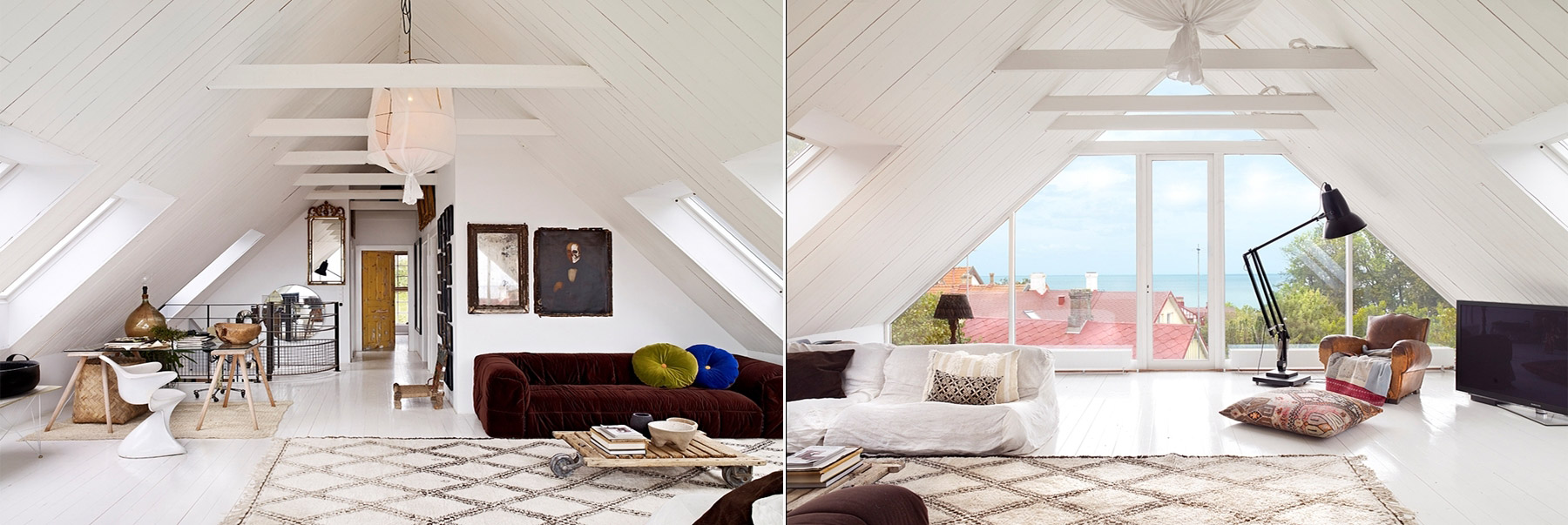 Adorable attic living room