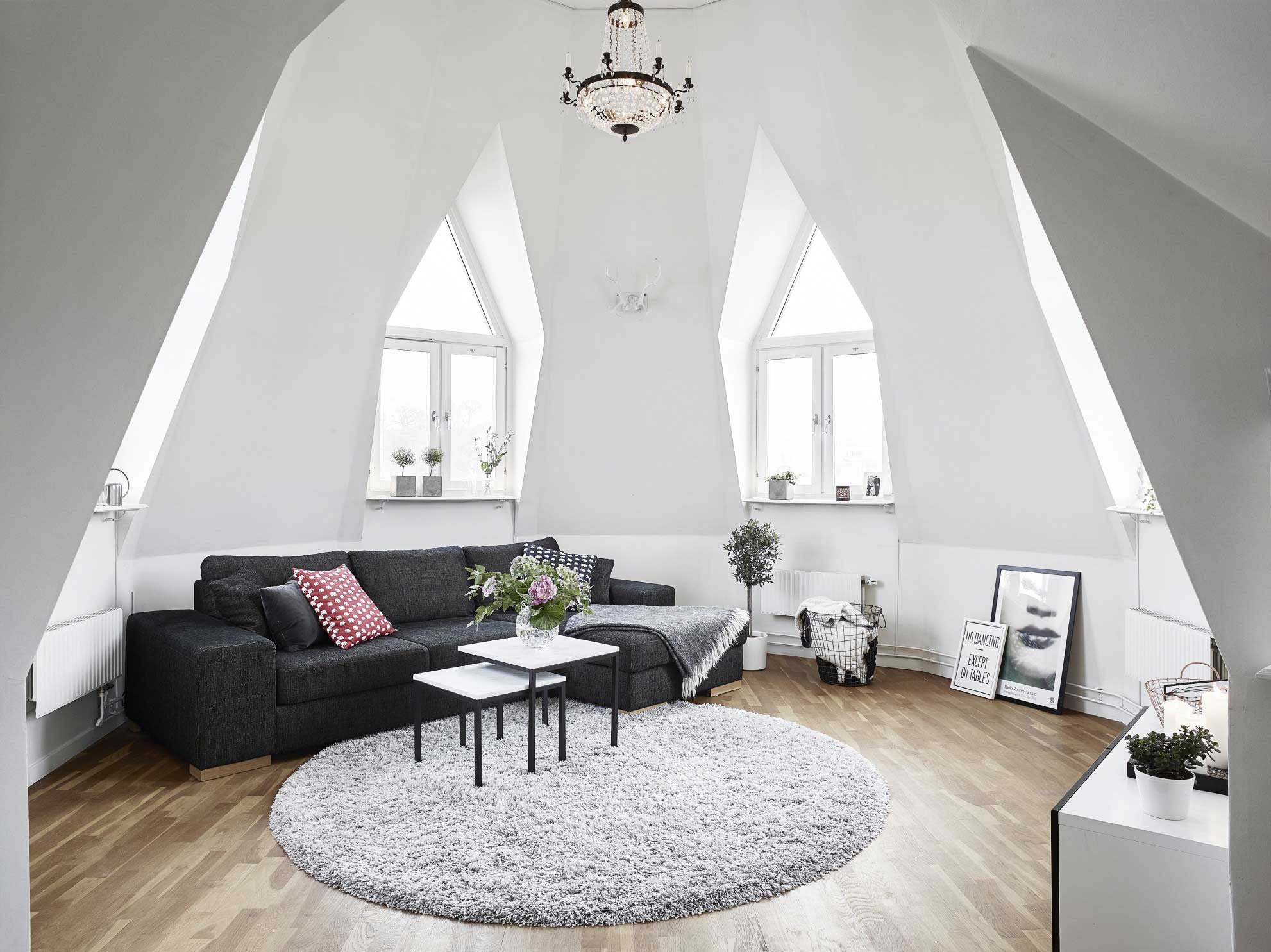 Oddly shaped attic living room