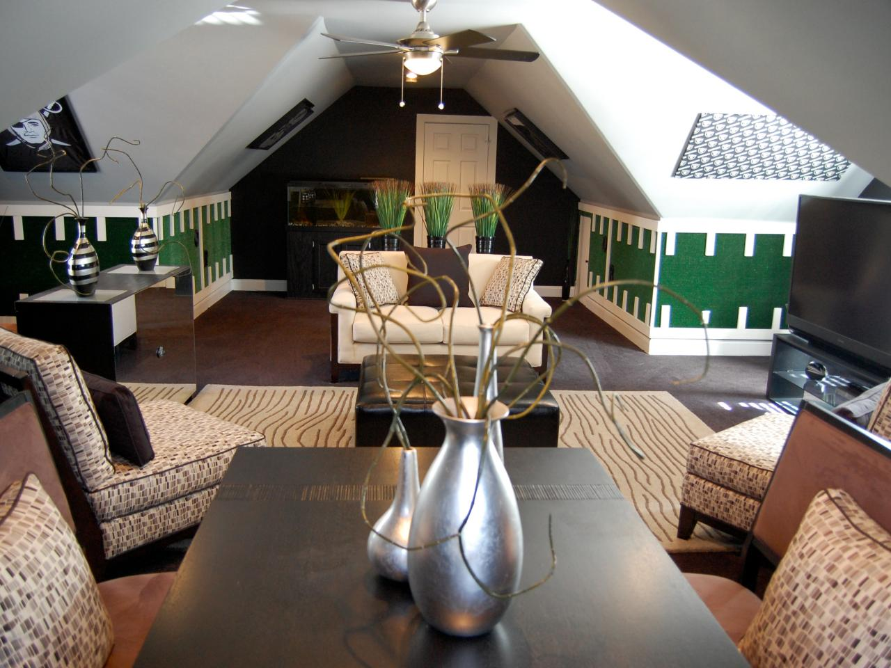 Attic living room in brown and green