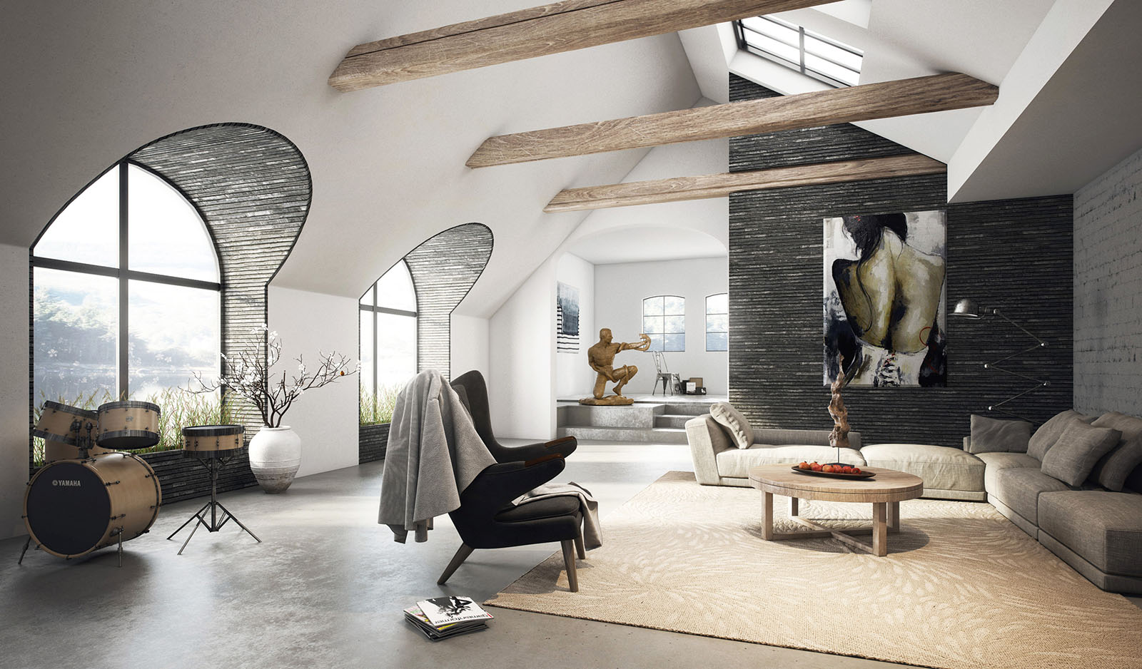 Spacious attic living room in 3D