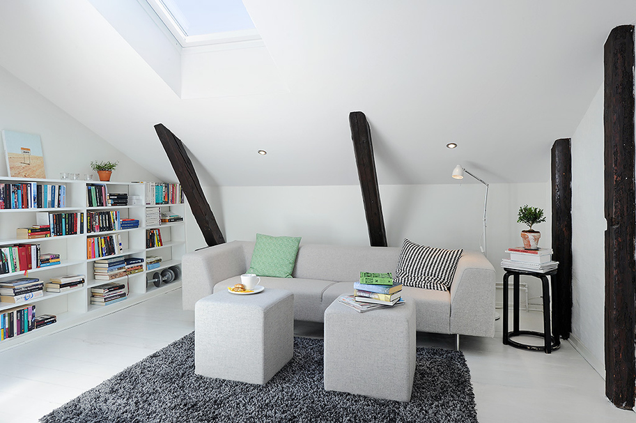 Scandinavian attic living room