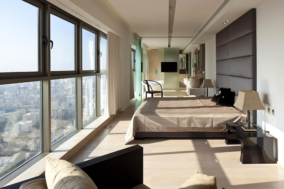 Modern Bedroom With Panoramic Glass Wall