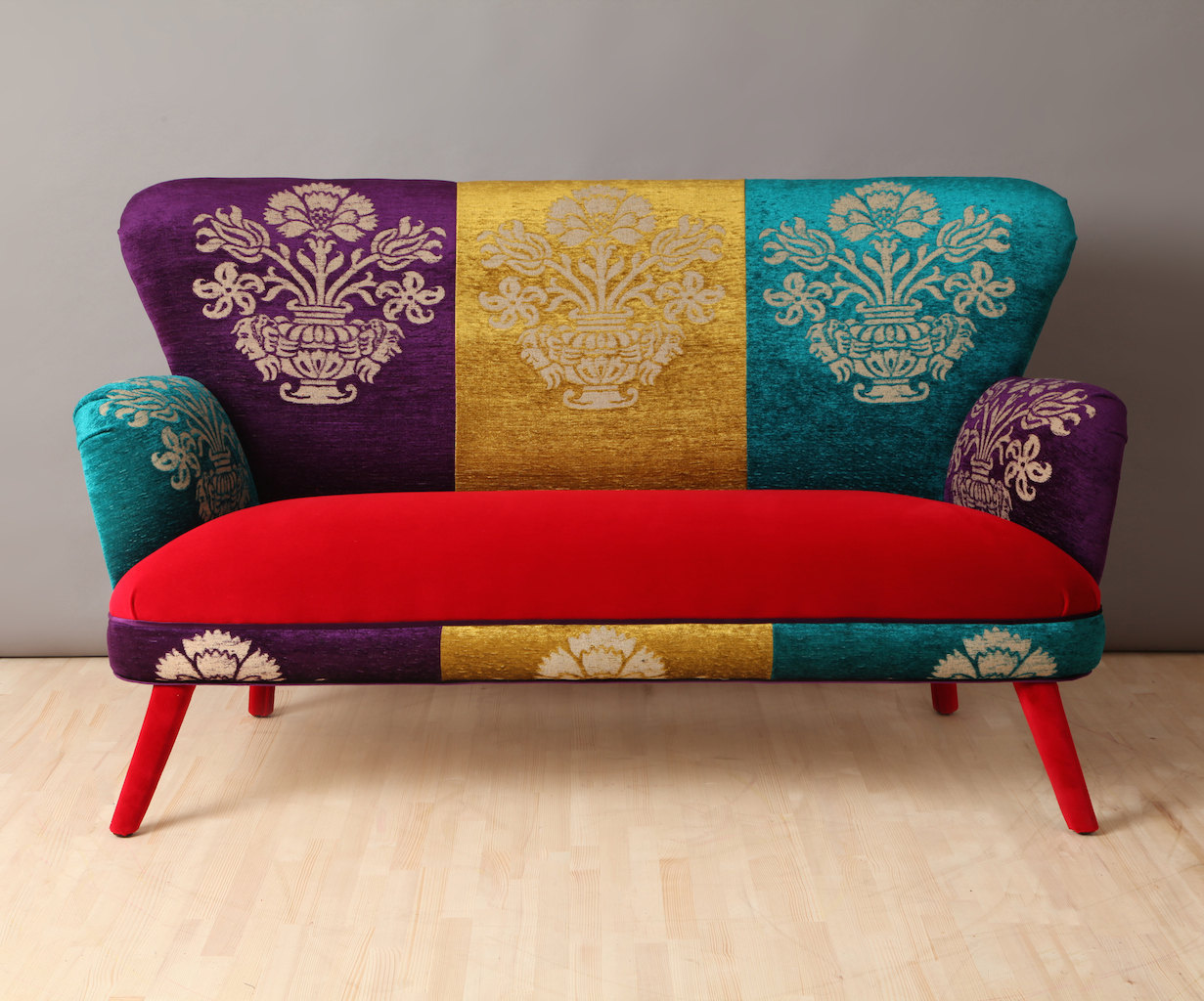 Colorful two seater sofa