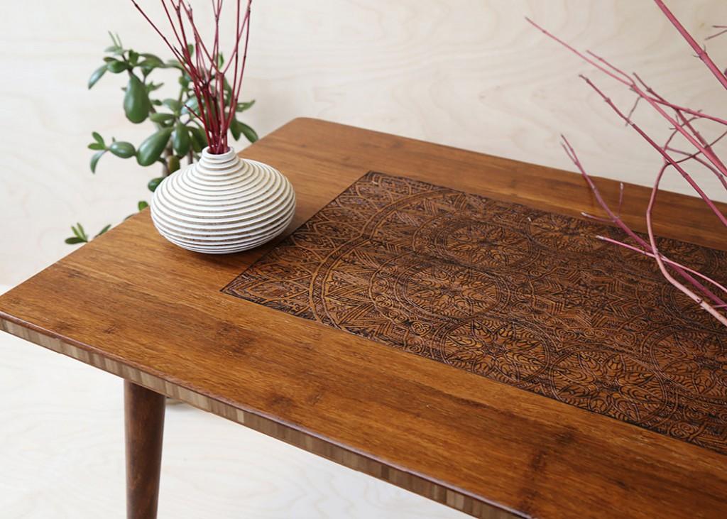 Engraved Hardwood Coffee Table