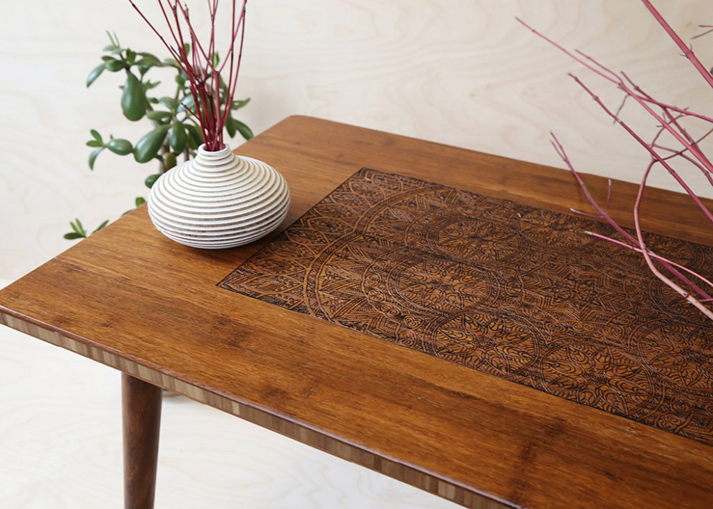 Engraved Hardwood Coffee Table