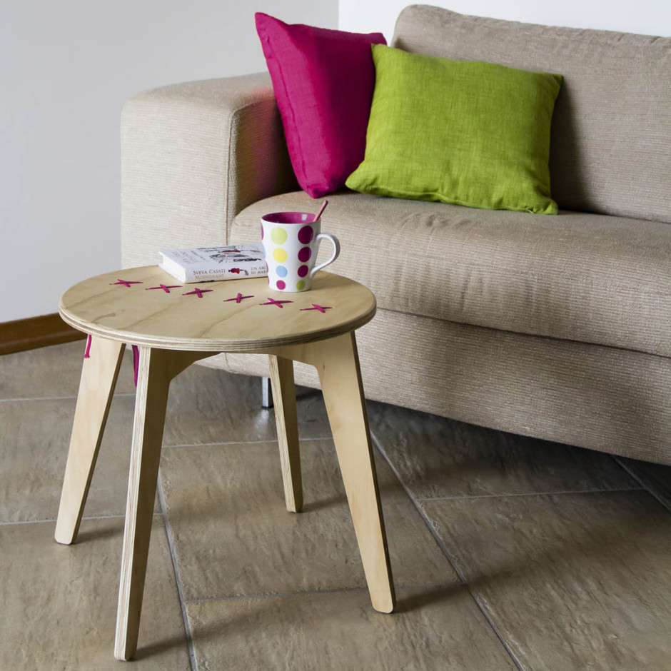 Hand Stitched Coffee Table-pink