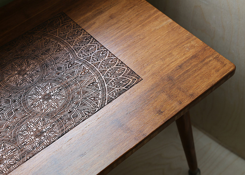 Stunning Engraved Hardwood Coffee Table Adorable Home