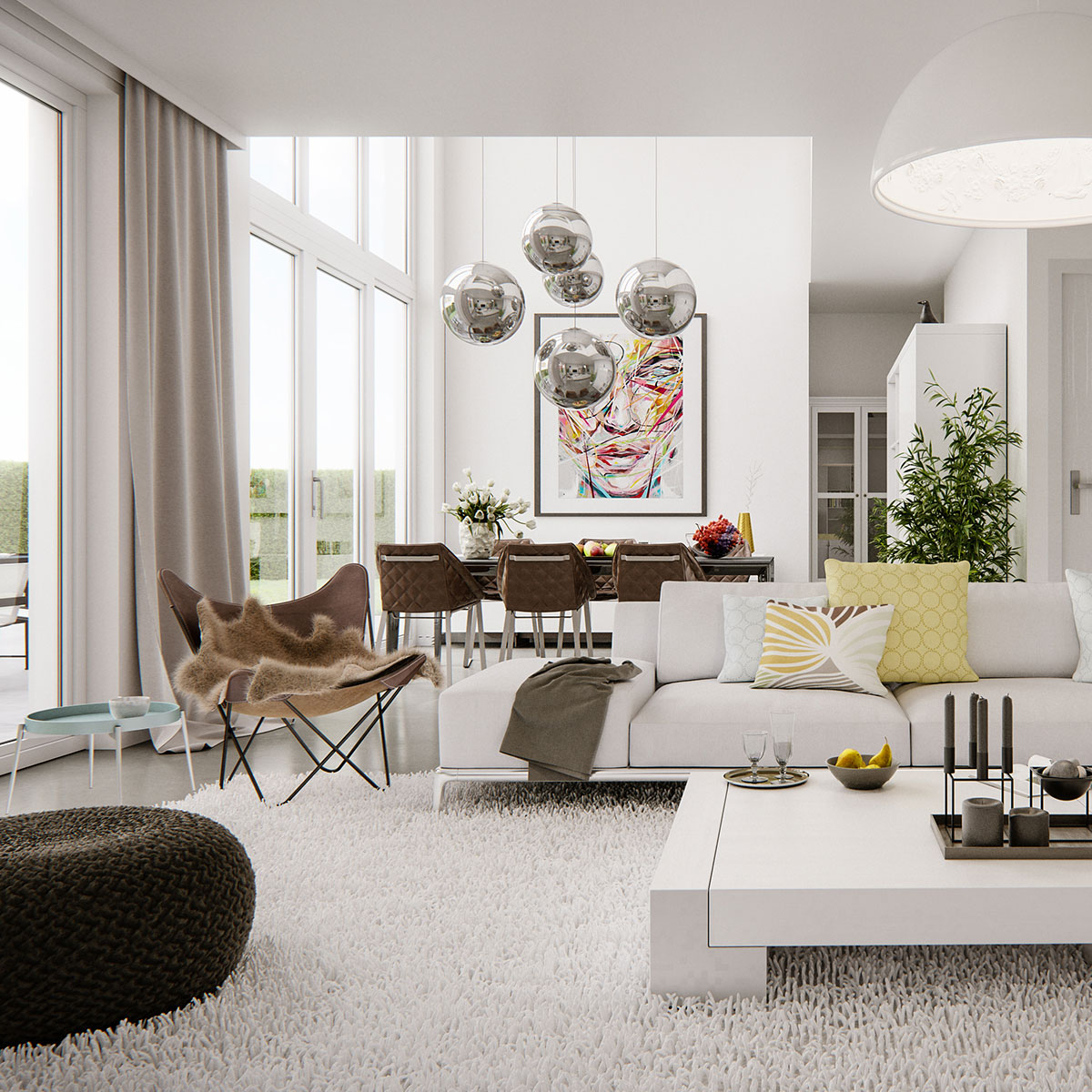 Modern bright interior adorable home for Decoration de salon moderne