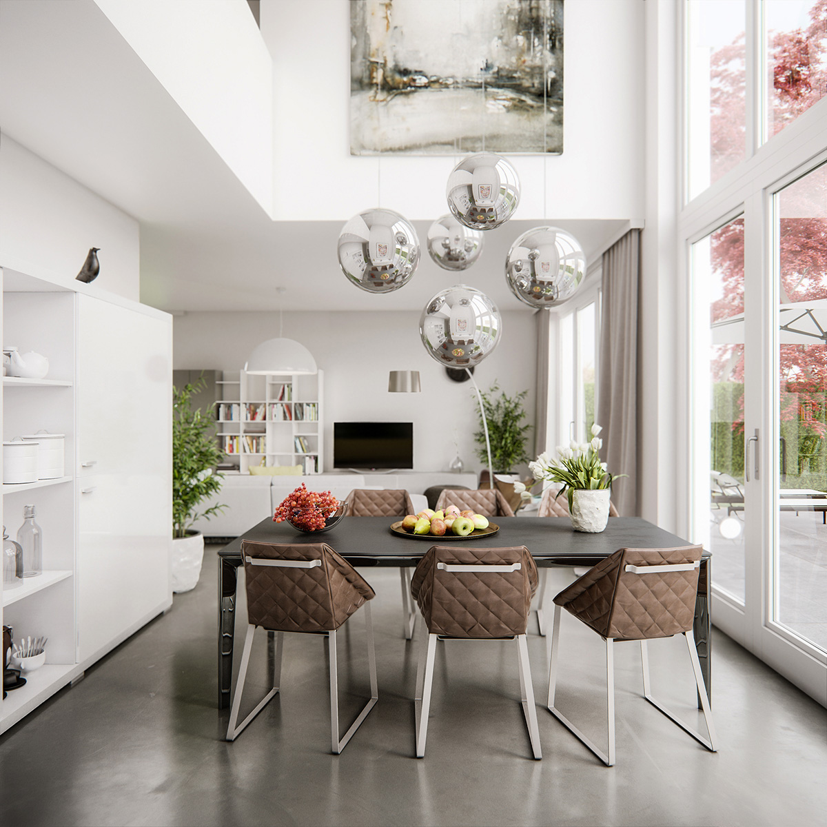 Contemporary dining room with high ceiling