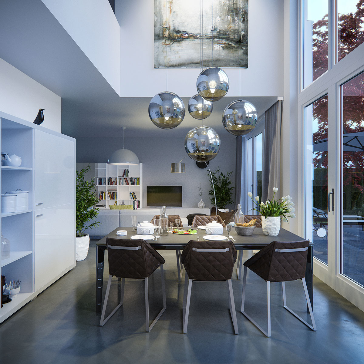 Contemporary dining room night view