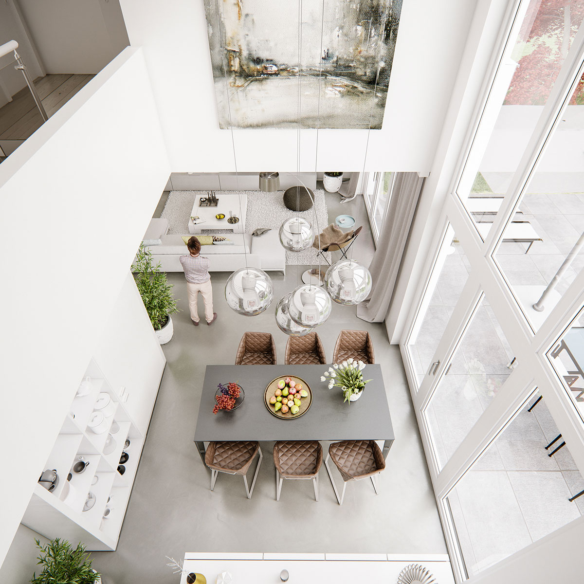 Contemporary dining room view from above