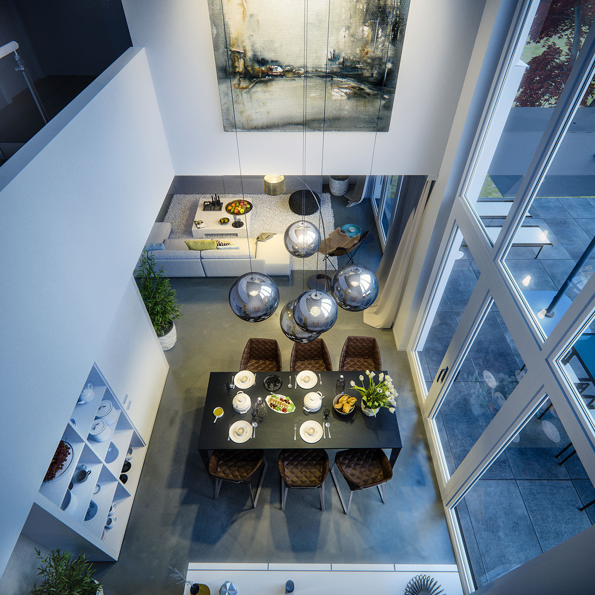 Contemporary dining room view from above by night