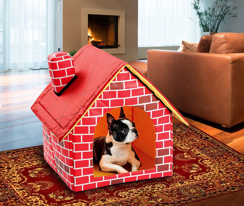 Portable indoor-outdoor dog house-brick