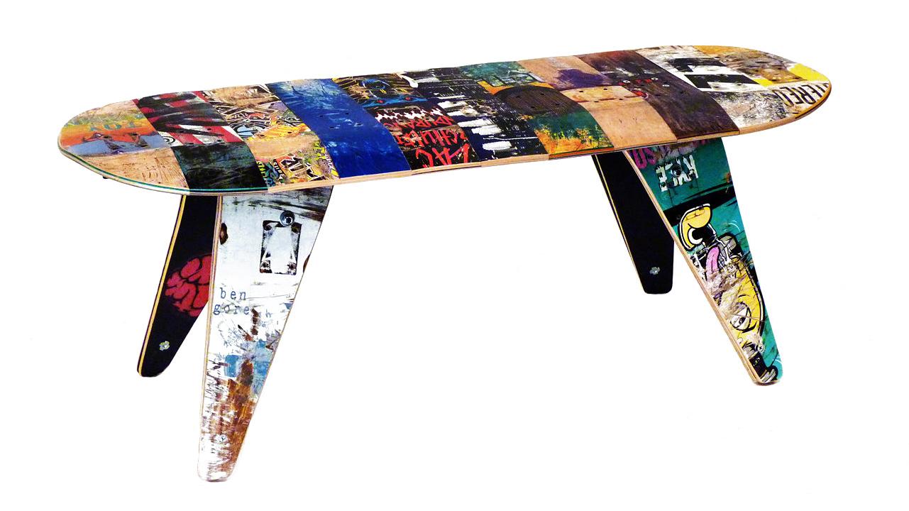 Upcycled Skateboard Bench