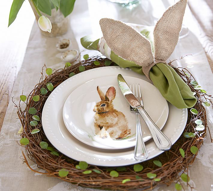 easter decor, tablescape, table setting, holiday table setting, easter table decor, easter tablescape, rabbit plate