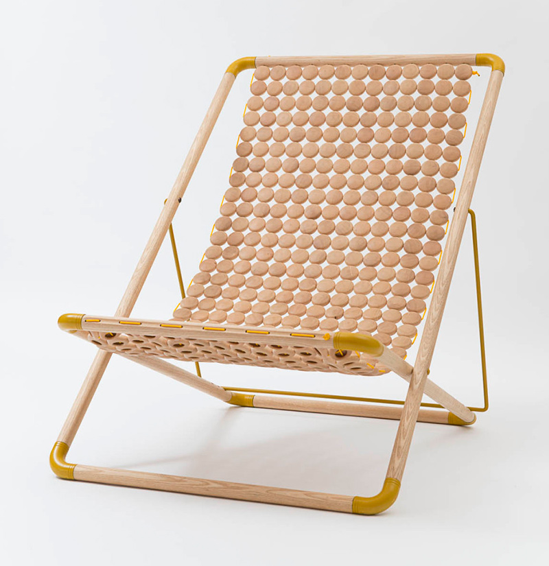 Buttons Wooden Folding Chair-3