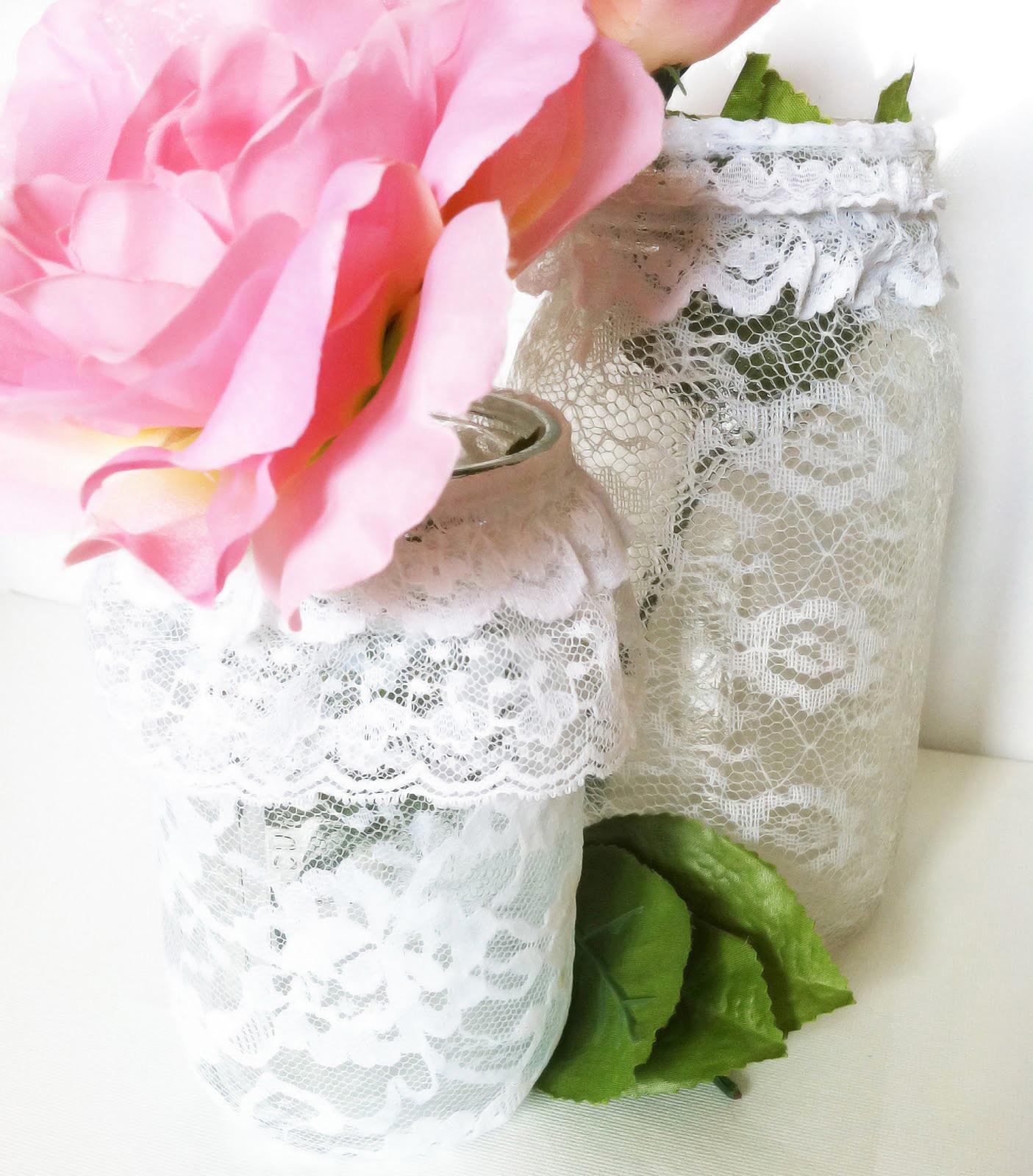 Decorating Mason Jars with Lace